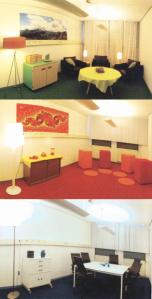 De groene, rode en blauwe testruimte van TNO (bron: TNO Magazine)